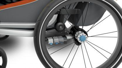 Regulowana amortyzacja w przyczepce rowerowej Thule Cross