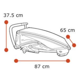 Wymiary wózka Thule Lite 1 złożonego